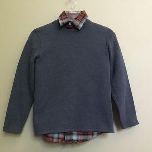 2 pc CLASS CLUB blue sweater & Plaid shirt 10/12